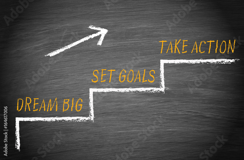 Fotografie, Obraz Dream big, set goals, take action - motivation and career concept stairway with