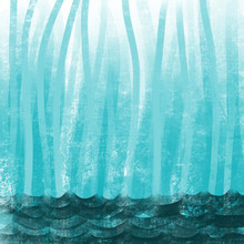 Colorful Hand Drawn Bright Blue Abstract Texture Stripe Background As Ocean Water, Illustration Of Vertical Lines As Sea Grass Painted By Chalk On Canvas, High Quality