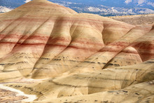 Surrealistic Landscape Of The Slopes Of Painted Hills In The John Day Fossil Beds National Monument. View From Hiking Trail.