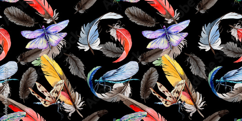 La pose en embrasure Fées, elfes Watercolor bird feather pattern from wing. Aquarelle wild flower for background, texture, wrapper pattern, frame or border.