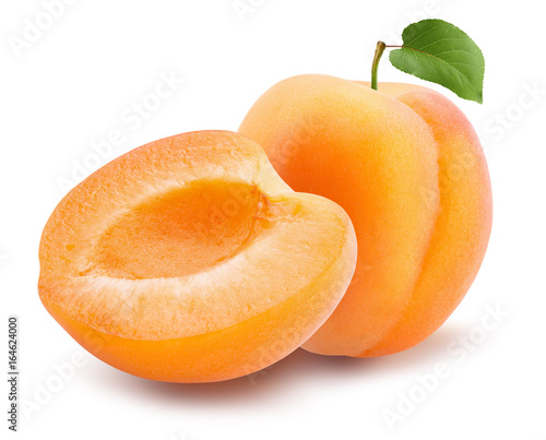 Leinwand Poster apricots isolated on a white background