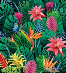 Fototapeta Egzotyczne Background with exotic tropical flowers