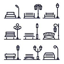 Monochrome Linear Abstract Landscape Design Element Set, Park Street Elements. Park Bench And Lantern, Vector Illustration And Logos Collection.