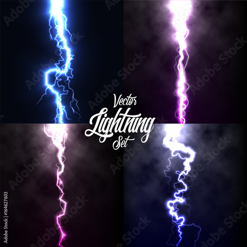 Lightning flash light thunder spark on black background with