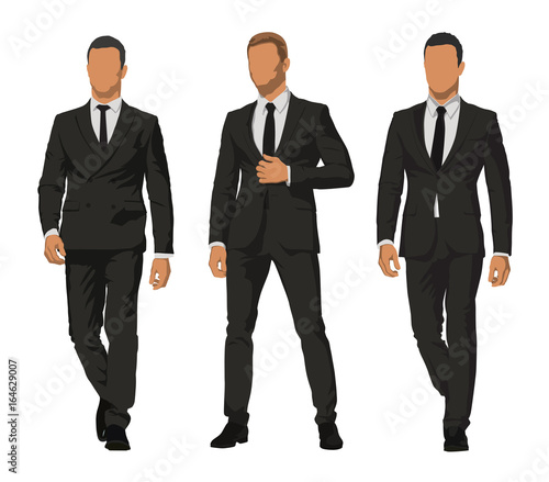 Fotografie, Obraz  Business people, set of three characters in dark suits
