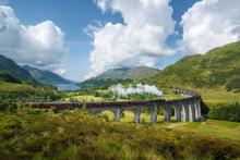 Jacobite Steam Train (a.k.a. Hogwarts Express) Passes Glenfinnan Viaduct