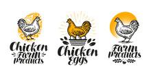 Chicken, Hen Label Set. Poultr...
