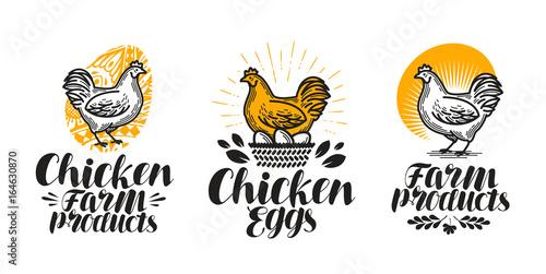 Leinwand Poster Chicken, hen label set