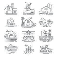 Farm And Farming Fields Linear Vector Icons Isolated On White Background. Farming And Agriculture Life Concept. Harvester Tractors And Village Buildings. Thin Black Line Style