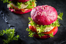 Colored Purple Beetroot Buns A...