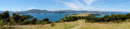 Panoramic view over Bay of Islands, New Zealand, NZ from Urupukapuka Island