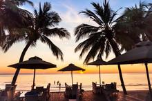 Beach Restaurant At Sunset On Tropical Island