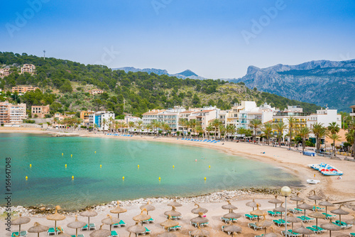 Foto auf Gartenposter Stadt am Wasser Puerto de Soller, Port of Mallorca island in balearic islands, Spain. Beautiful beach and bay with boats in clear blue water of summer day.
