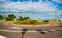 Newly Installed Suburban Roundabout