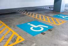 Handicap Sign And Yellow Strip...