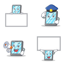 Set Of Tablet Character With Police Megaphone And Bring Board