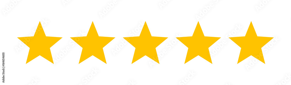 Fototapety, obrazy: Five stars customer product rating review flat icon for apps and websites