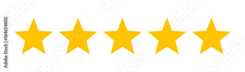 Obraz Five stars customer product rating review flat icon for apps and websites - fototapety do salonu