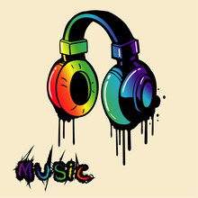 Headphone Rainbow In Graffiti Style, Vector.