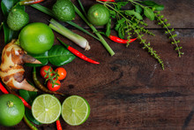 Herb And Spicy Ingredients For Making Thai Food. Recipe Book With Fresh Herbs South Asia And Spices On Wooden Background, (concept Thai Food),top View