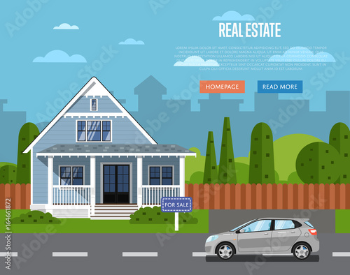 Real Estate Agency Website Template With Sale House Vector