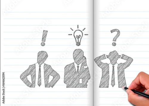 Fotografie, Obraz  ノートに描いた考える3人のビジネスマンのシルエット