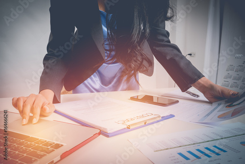 Business woman work hard at office Poster
