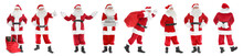 Collage Of Santa Claus On White Background