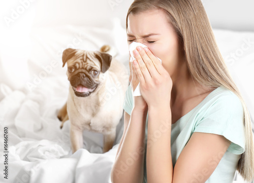 Young ill woman with tissue and pet on background Canvas Print