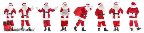 Photo  Collage of Santa Claus on white background