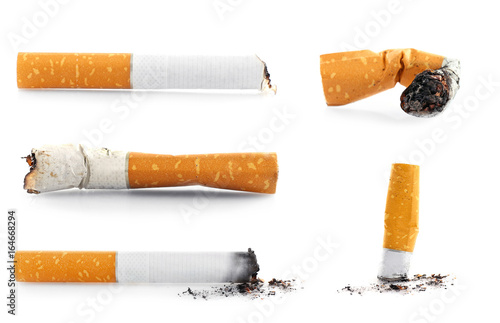 Collage of cigarette butts on white background Canvas Print