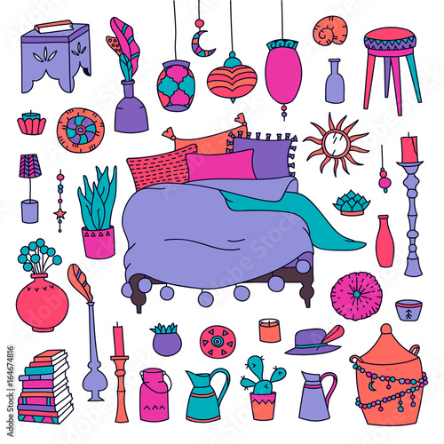 Staande foto Kasteel Vector set of furniture and accessories of bedroom. Gypsy style. Hand-drawn illustration
