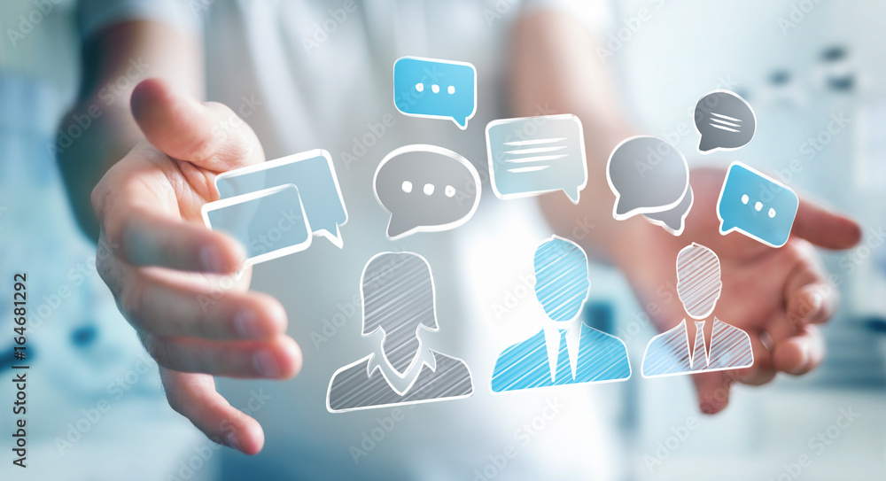 Fototapeta Businessman holding discussion icons sketch