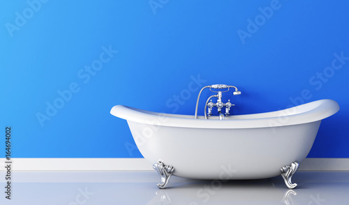 Tablou Canvas Bathtub and faucet and blue wall