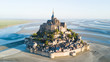 canvas print picture - Le Mont Saint-Michel tidal island in beautiful twilight at dusk, Normandy, France