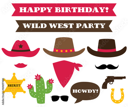 Cowboy party hats and western design elements - Buy this stock ... 45e99cf6d14