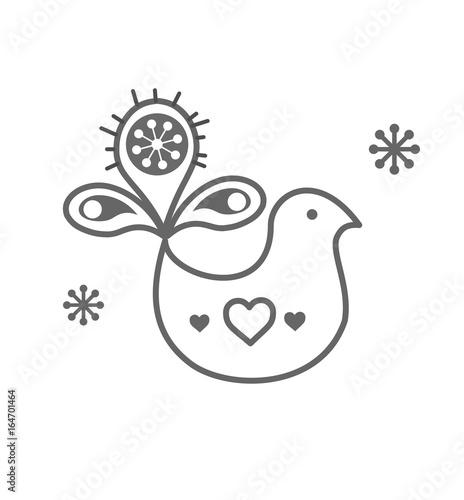 Fotografija  Scandinavian folk decoration with cute bird vector