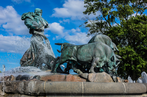 View of famous Gefion Fountain (Gefionspringvandet 1899) in Copenhagen Poster