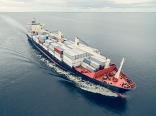 Aerial View Of Container Vesse...