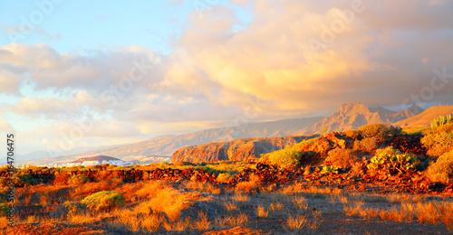 Deurstickers Oranje eclat Sundown in Tenerife
