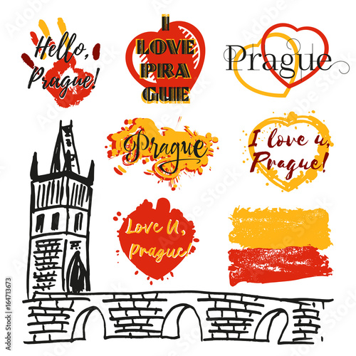 Collection Of Souvenir Prints With Lettering About Prague In Shape