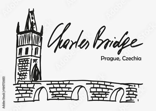 Hand Drawn Sketch Of Charles Bridge As One Of Symbol Of Prague In