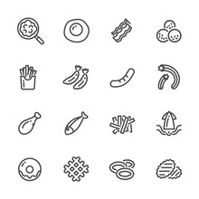 Fried Foods And High Fat Foods Leads To Obesity. Vector Line Icons