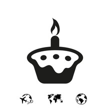 Cake With Candles Icon Stock V...