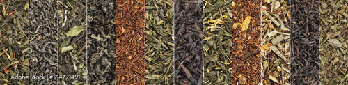 Valokuva variety of black, green, red and herbal tea banner