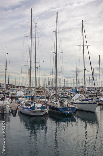 Fototapety, obrazy: Picturesque yachts in harbor of Lanzarote island, Canary Islands, Spain