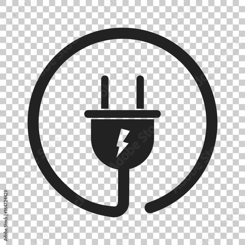 Leinwand Poster Plug vector icon. Power wire cable flat illustration.