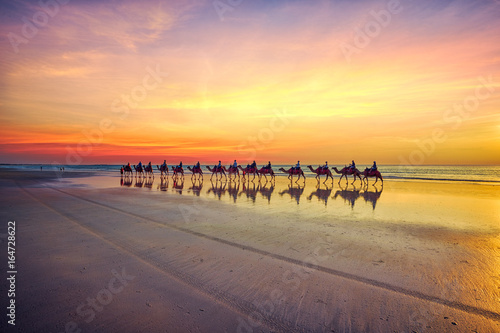 Keuken foto achterwand Kameel Camels at sunset on Cable Beach, Broome, Western Australia
