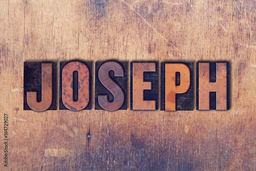 Cuadros en Lienzo Joseph Theme Letterpress Word on Wood Background