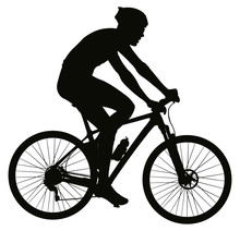 Cyclist Black Silhouette, Logo Sign. Bicycle Posture. Vector Illustration AI10
